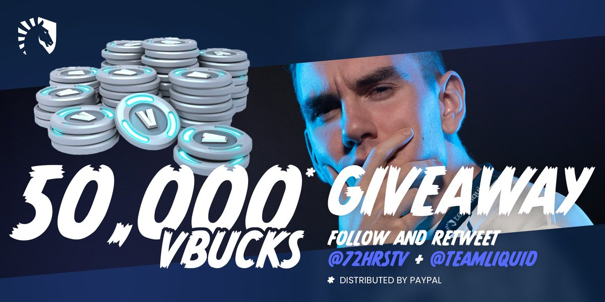 Doing a V-BUCKS giveaway! RT &amp; Follow me and @TeamLiquid. There will be 5 winners receiving 10,000 each! Giveaway ends when season 5 ends #LetsGoLiquid <br>http://pic.twitter.com/LjZdsqBsLG