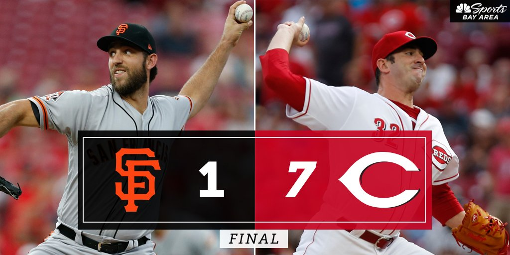 FINAL: @Reds 7, @SFGiants 1 -- Watch Postgame Live NOW on NBC Sports Bay Area and streaming on the @NBCSportsApp bit.ly/2wbPbAZ