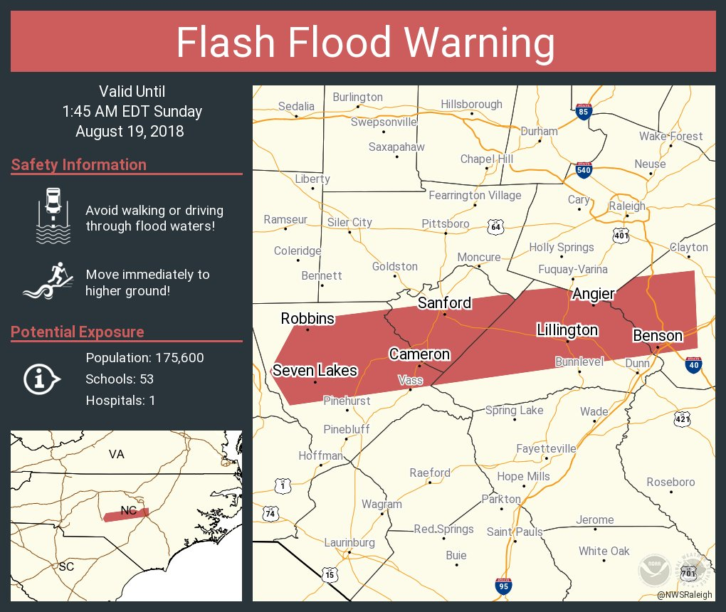 Seven Lakes Nc Map.Nws Raleigh On Twitter Flash Flood Warning Including Sanford Nc