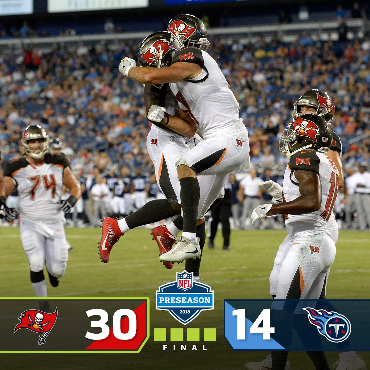 FINAL: The @Buccaneers WIN in Nashville! #TBvsTEN #NFLPreseason https://t.co/Fq797zlMdE