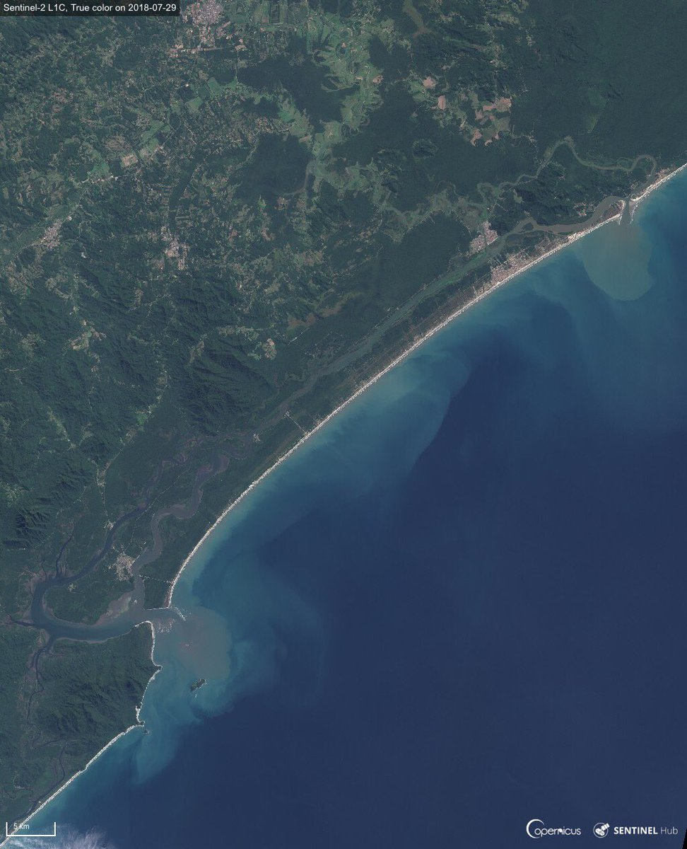 Rare geo feature seen by #Sentinel2 : the delta of the Ribeira de Iguape River, in the State of Sao Paulo  runs parallel to the coast for 80 km.  #Opendata to monitor the 84,425 ha Juréia-Itatins Ecological Station, a protected area of well-preserved Atlantic Forest<br>http://pic.twitter.com/MrLlL58fnl