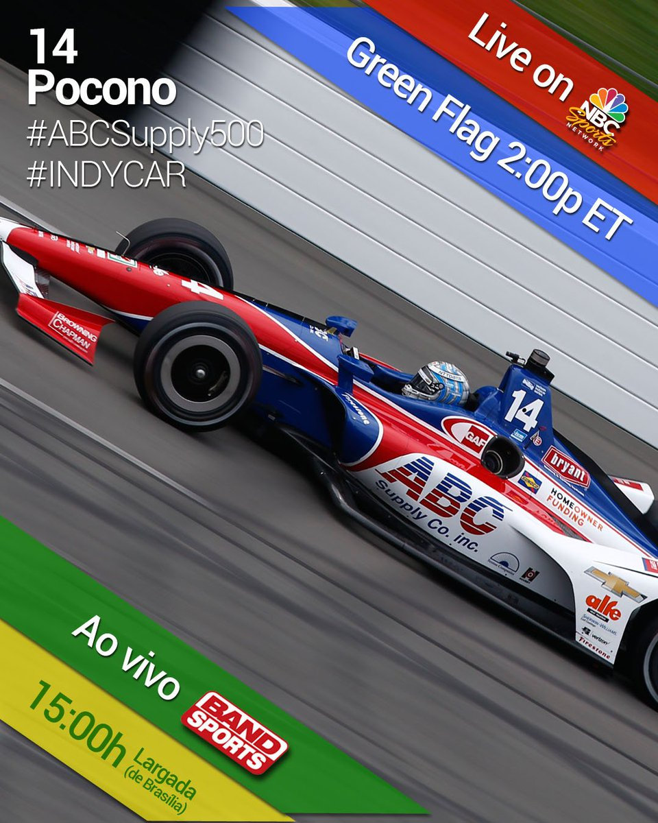 Watch the 500 mile @IndyCar race at @poconoraceway live today on @NBCSports   Green flag at 2:00p ET! I'm starting from P14. #ABCSupply500 #ABCSupply #Bryant #7Eleven #BigMachineVodka #ISMSeat #EstesEarnsIt #Vossen #MichaeFuxFoundation<br>http://pic.twitter.com/dLsVDufMHn