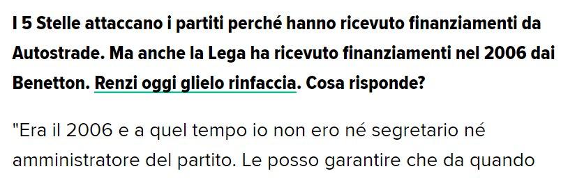 Salvini dice che nel 2006, quando Autostrade finanziò la Lega, lui non c'era, non era Segretario https://t.co/yNPXQTakh8 Vero. Era Vice-Segretario https://t.co/jfz3ydGFf0