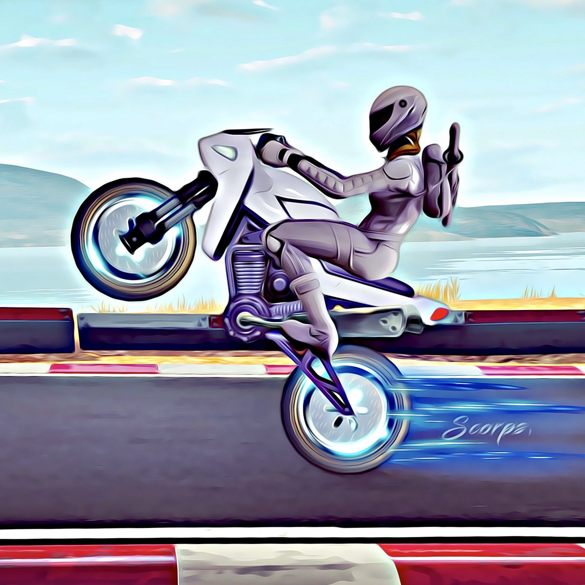 Whiteout is riding her motorcycle ! @FortniteGame @FortniteFR @Fortnite_art_co #Fortnite  #FortniteBR #FortniteBattleRoyale #BattleRoyale #EpicGames #Whiteout #Motorcycle #FanArt #Scorps<br>http://pic.twitter.com/3JsmzmH6SK