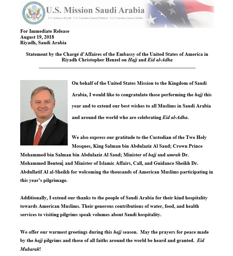 Us mission to ksa on twitter statement by the charg daffaires 541 am 19 aug 2018 m4hsunfo