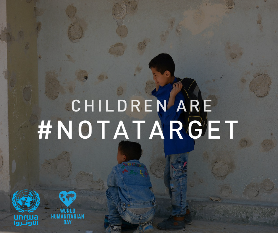 """It's World Humanitarian Day! This is the story of Palestine refugee children in Syria who braved """"the checkpoint of death"""" for the sake of education and dignity bit.ly/2Bn5aSQ Children are #NotATarget Join #DignityIsPriceless unrwa.org/join"""