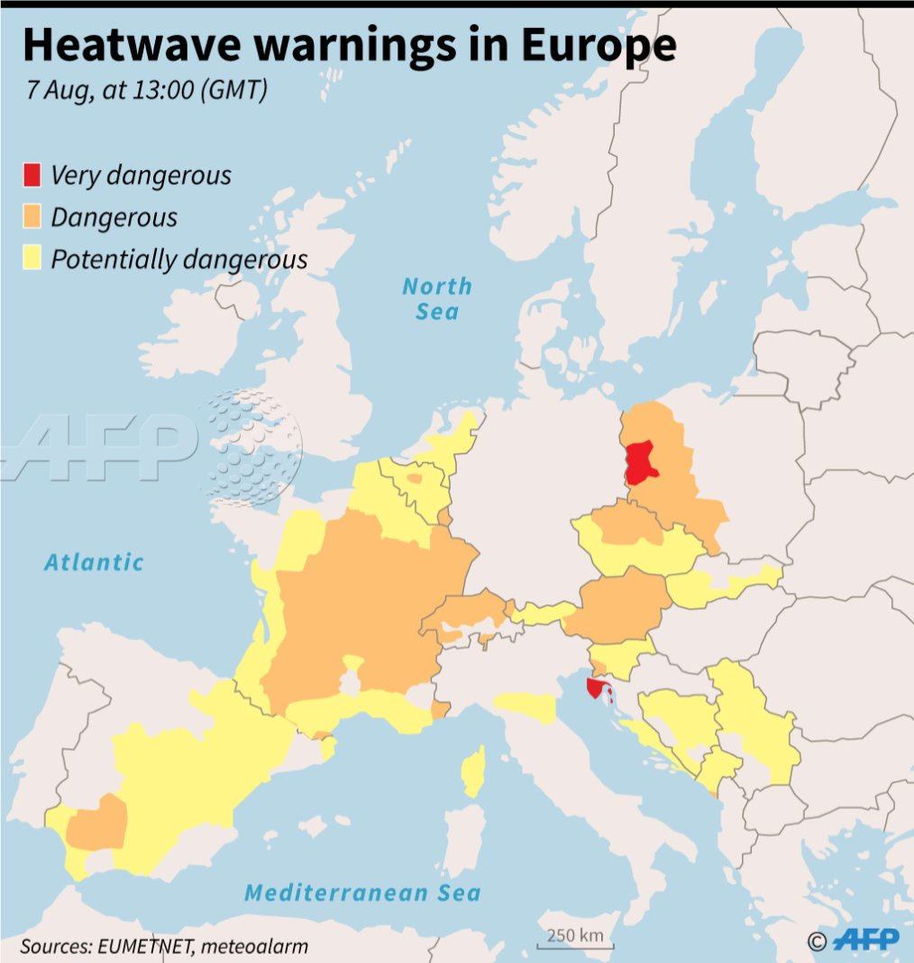 Updated Map Of Europe.Map Of Europe Showing Updated Heatwave Warnings At 13 00 Gmt On