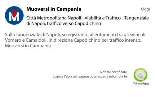 #MuoversinCampania - Tangenziale di #Napoli #traffico in direzione #Capodichino.#TeLoDiceWhereApp! #viabilità #campania  - Ukustom