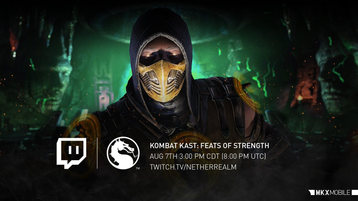#MKXMobile players! Dont miss the stream today (8/7) at 3:00 PM CDT to learn more about the new feature, FEATS OF STRENGTH! go.wbgames.com/NRSTwitch