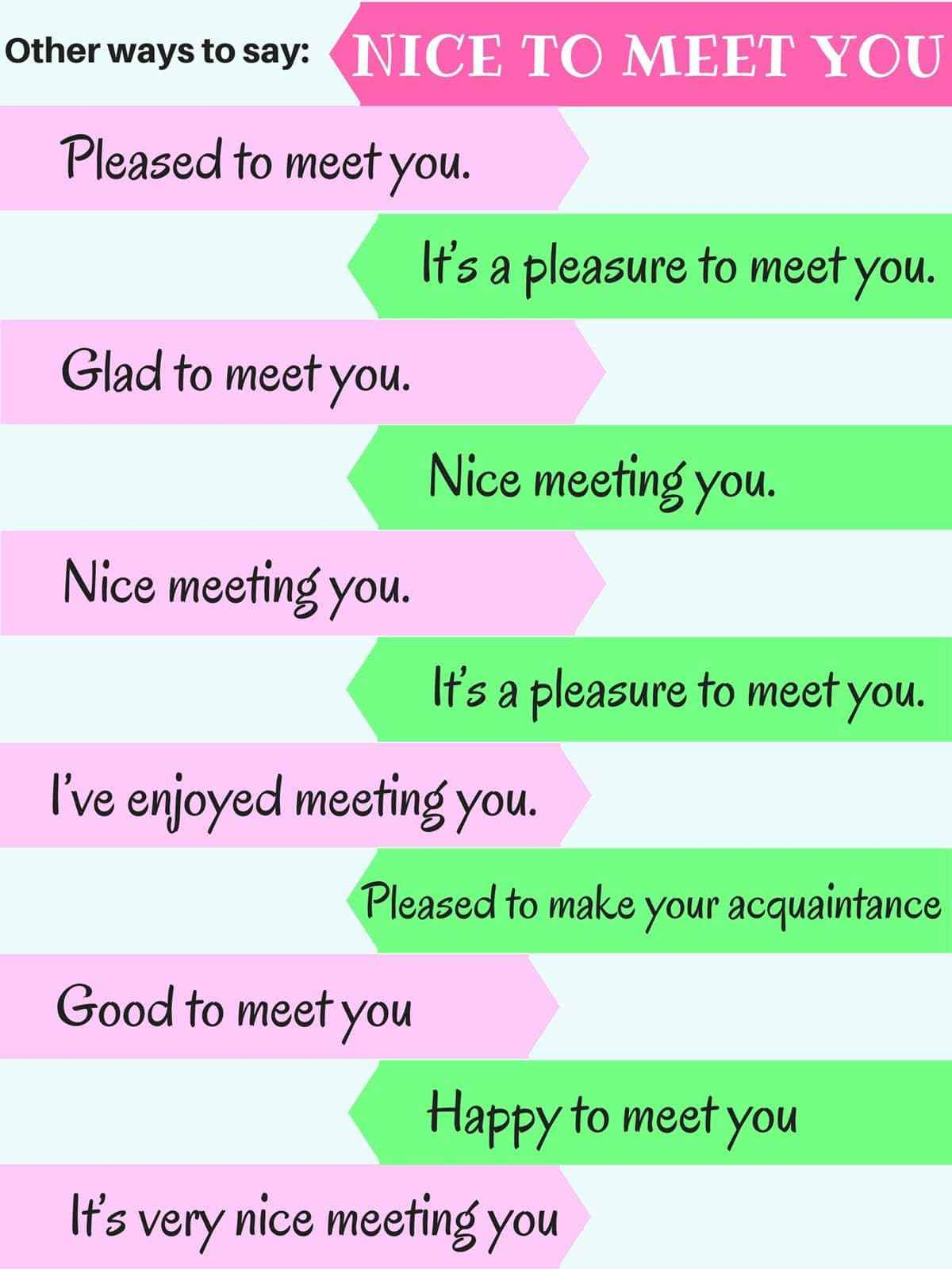 English Idioms On Twitter Other Ways To Say Nice To Meet You 1 Pleased To Meet You 2 It S A Pleasure To Meet You 3 Glad To Meet You 4 Nice Meeting