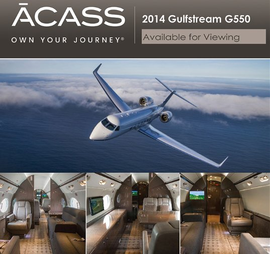 2014 #Gulfstream #G550 available for viewing in Atlanta area Aug 9-10! Contact ACASS to schedule your appointment today at  http:// ow.ly/5RuC30ljbSH  &nbsp;    Engines on RRCC APU on MSP BBML and more  #bizjet #bizav #aircraftforsale #privateaviation #jetforsale #businessaviation<br>http://pic.twitter.com/tB232jG6HS