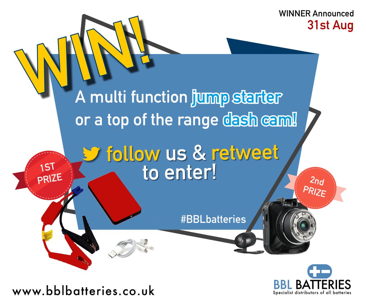 **WIN one of two prizes! A multi Functional Jump Starter or a top of the range Dash Cam! Simply FOLLOW us &amp; RT  this post to enter  #BBLBatteries #WINWIN #WINIT #entertowin #Prizes #Winitwednesday #winwednesday #giveaway #Carparts #Giveaways #Competition  #Powerbank #entertowin<br>http://pic.twitter.com/CkTvhdWYo8