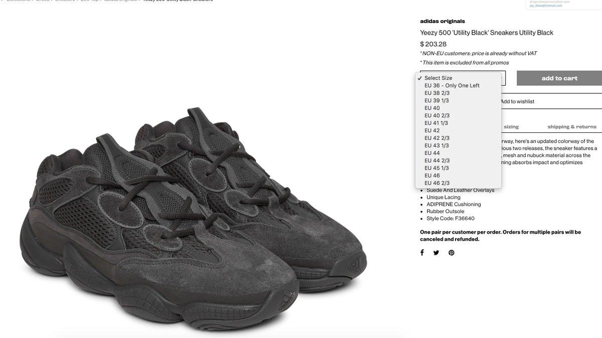 b42698c523787  RESTOCK adidas Yeezy 500  Utility Black     http   tinyurl.com y7fp9emf     http   tinyurl.com y7fp9emf pic.twitter.com QjRWCpsIy8