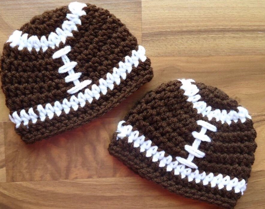 c0de8cbf4dd Excited to share this item from my  etsy shop  Football beanie  accessories   hat  birthday  christmas  white  brown  footballbeanie  winterhat   teamspirit ...