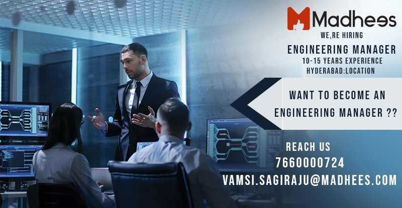 If you can Groom and nurture #Engineers to achieve the #Business and to Contribute technically as well as mentor individuals in the team. We are hiring #Engineering #Managers. Reach us out for more info   https://www. facebook.com/pg/madhees/job s/214945362520358/?source=post_homepage_stream &nbsp; … <br>http://pic.twitter.com/ylbcbKOmBA