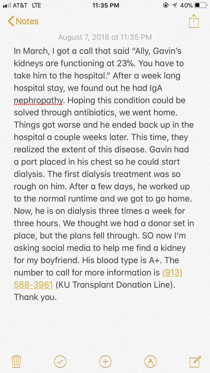 My boyfriend needs a kidney. Blood type is A+. RT to spread the word 🙏🏼