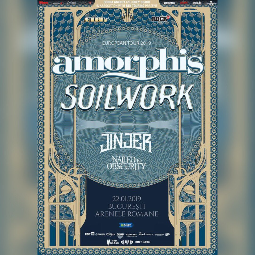 #Bucharest show added! See you at #areneleromane on 22nd of January, 2019 🇷🇴  Tickets: https://t.co/C7syF4KQQB  #amorphis #soilwork #jinjer #nailedtoobscurity #queenoftimetour https://t.co/OxGzFUvSeG