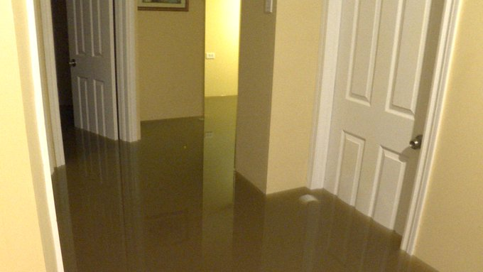 Toronto Flooding - A man examines the damage to his fully finished basement in North York. #onstorm Photo