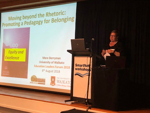 """test Twitter Media - #ELF2018 Prof Mere Berryman @waikato Presentation """"Moving beyond the Rhetoric - Promoting a Pedagogy for Belonging"""" explored what a nationwide sample of senior Maori students said is required if schools are to achieve this vision of belonging. https://t.co/26tPtUlZkS"""