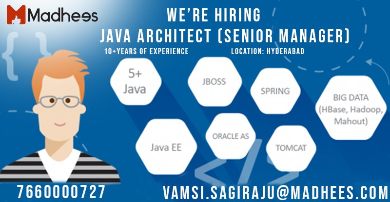 Are you familiar with hashtag#Java hashtag#Spring, hashtag#boot, hashtag#ReactJS, hashtag#CoreJava, hibernate spring, angular js, design patterns, team management, hashtag#NoSQL, SOA JSON solution architect,  java architect Cloud etc.. we have a job for you reach us out<br>http://pic.twitter.com/EX3vvd7NJx