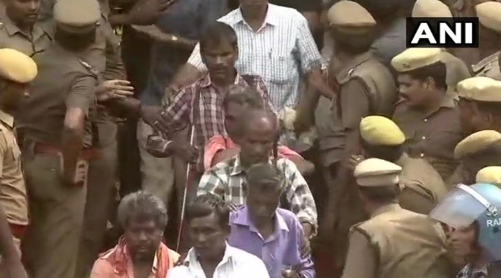 Chennai: Visually challenged supporters of #Karunanidhi paid tribute to the DMK Chief at #RajajiHall (ANI)