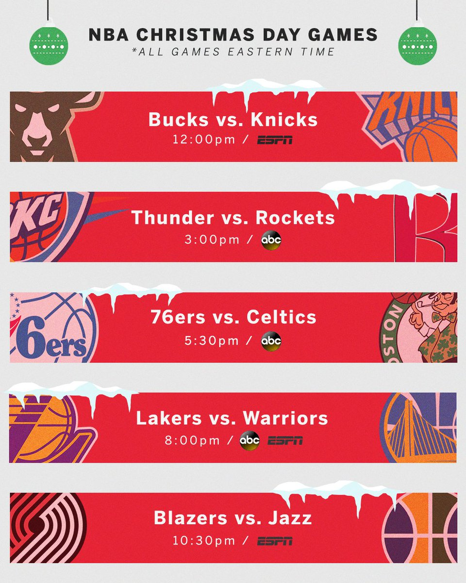 espn on twitter nba on christmas day is a gift first reported by nytimes confirmed by espn - Christmas Day 2018