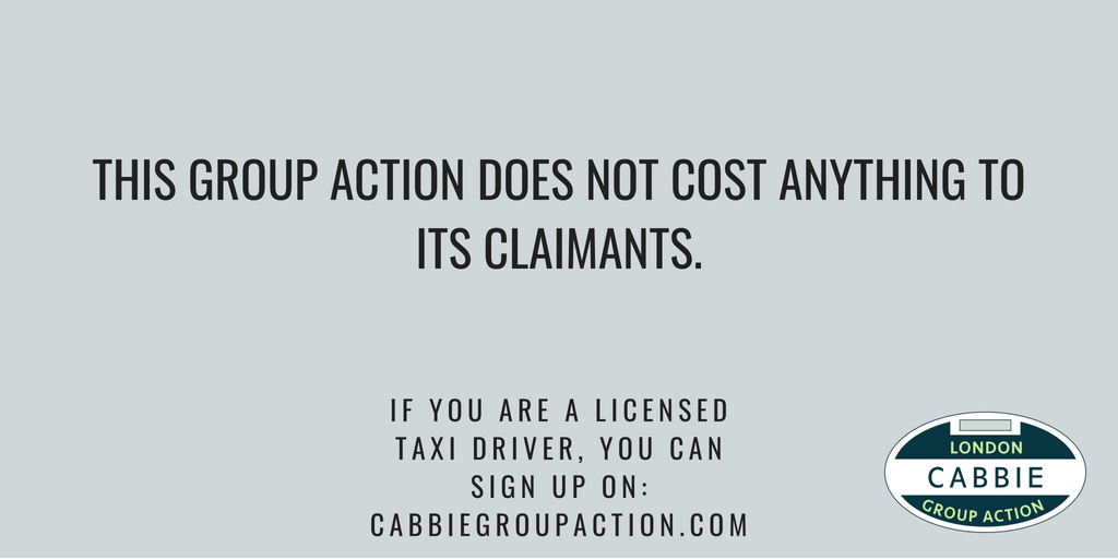 If you are a black cab driver, licensed by Transport for London to work in London, you can take part in the group action. You won't bear any of the cost. Funding for the group action is being covered by a third party, subject to a minimum number of taxi drivers signing up <br>http://pic.twitter.com/kDkXs2to8h