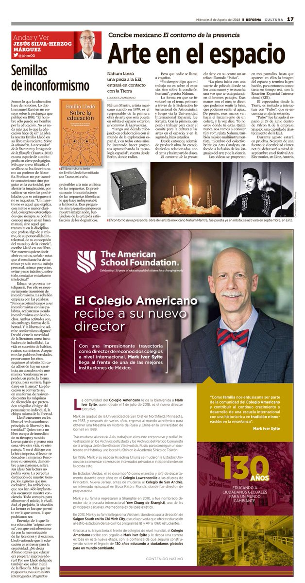 Mr. Mark Iver Sylte was officially presented as our new Executive Director in the Reforma newspaper this morning. You can find the note in the &quot;Cultura&quot; section. <br>http://pic.twitter.com/5Ta5wP1aNX