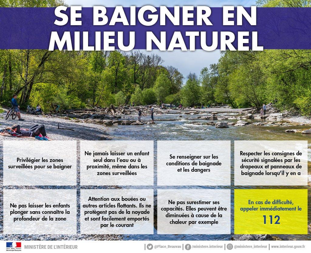 ⚠️💦En milieu naturel, rappelez-vous qu'il est + difficile de nager et la #baignade est rarement surveillée ds les fleuves et les rivières. Courant, profondeur incertaine cachant trous d'eau ou rochers, soyez très vigilants. Les accidents n'arrivent pas qu'aux autres. #noyade