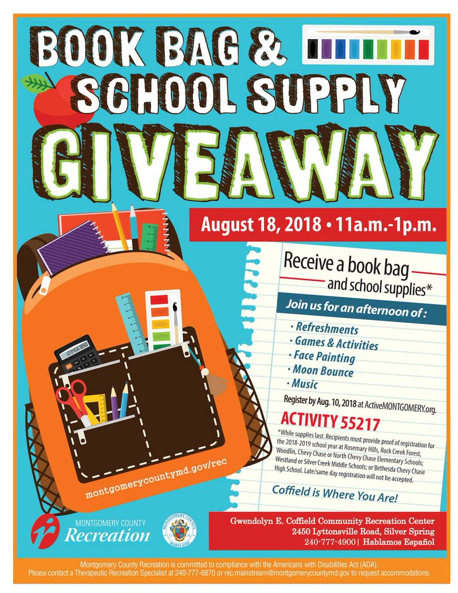 Moco Rec On Twitter Join Us August 18 For Our Book Bag