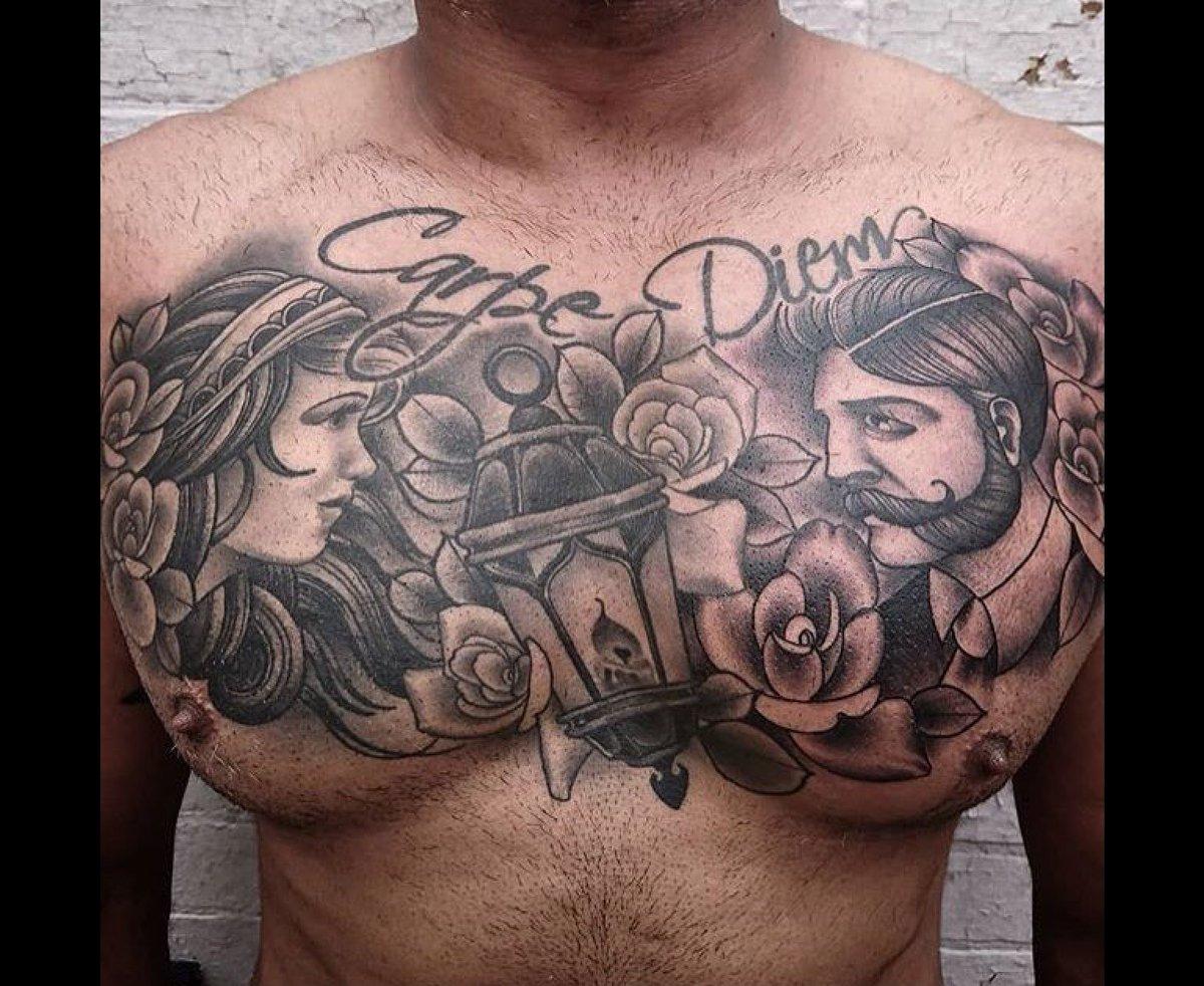 Flaming Gun Tattoo On Twitter Doug S Carpe Diem Chest Piece Tattooart Flaminggun Colchester Artistrack Gypsy Lantern