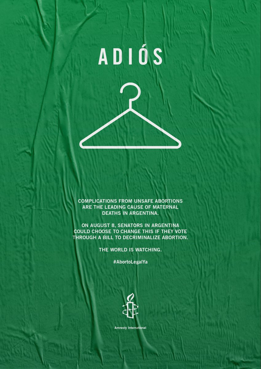 .@amnesty Intl run this ad on the @nytimes Complications from unsafe Abortions are the LEADING cause of maternal deaths in #Argentina Today the Senate will decide on decriminalizing #Abortion The World Is Watching PLEASE do the right thing, @SenadoArgentina #AbortloLegalYa #EsHoy <br>http://pic.twitter.com/kzR63bGF8j