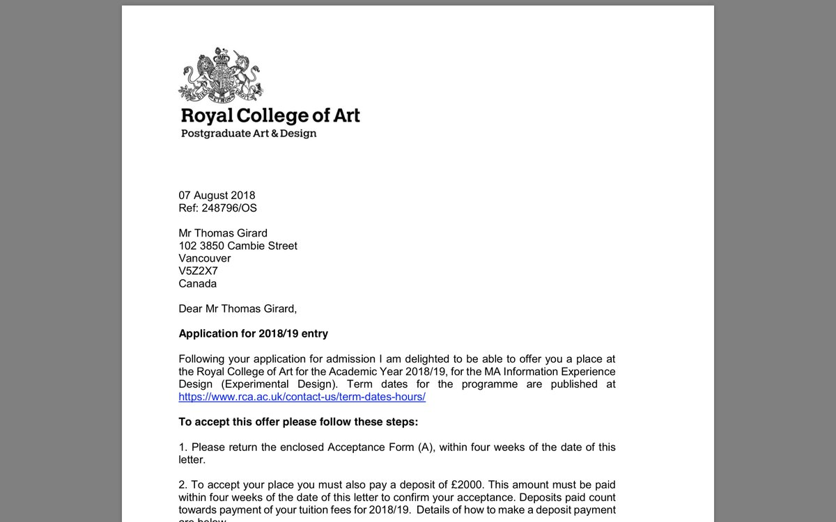 Thomas K Girard On Twitter Royal College Of Art Acceptance Rcaied Ui Uidesign Ux Uxui Uxdesign Designer Photoshop Dribbble Instaui Uidesigner Vector Userinterface Interfacedesign Userinterfacedesign Logo Flatdesign Graphic