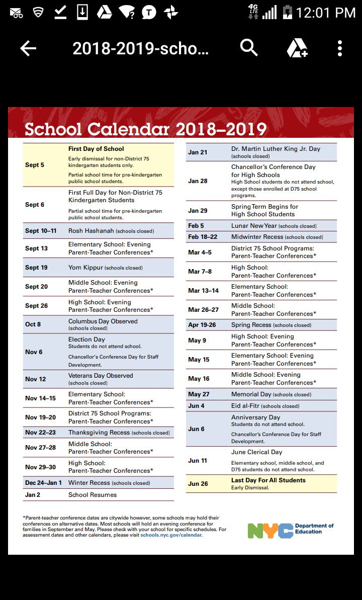 "nyc public schools on twitter: ""planning ahead? check out the 2018"