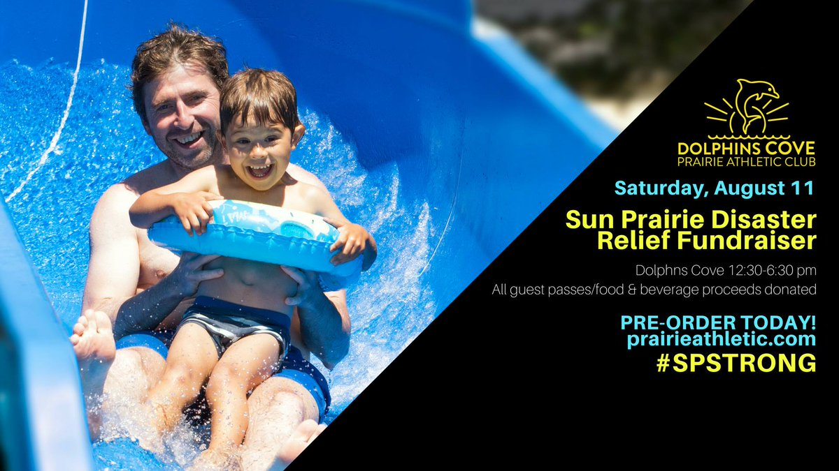 This Saturday, August 11th is our Sun Prairie Disaster Relief Fundraiser! Bring your friends and family to Dolphin&#39;s Cove for a day filled with fun, and help those whose lives and property have been greatly impacted by the explosion.  http:// ow.ly/Yt7U30lkagC  &nbsp;  <br>http://pic.twitter.com/HAHJawX5Uq