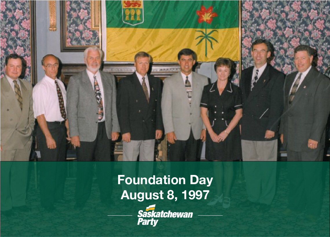 21 years ago today our party was founded by a team of 8 MLAs, 4 liberals and 4 conservatives who set their differences aside and built a united free-enterprise coalition to represent Saskatchewan people.  Happy foundation day!  #skpoli