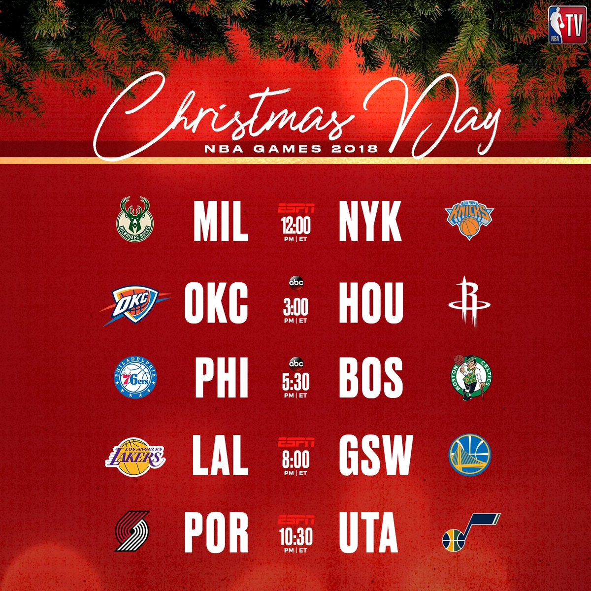 nba tv on twitter a look at the 2018 christmas day games around the nba - Christmas Day Games