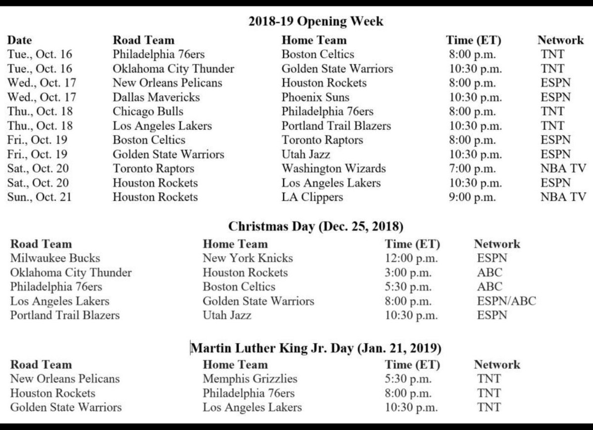 Paul Garcia On Twitter Some Schedule Dates From The Nba