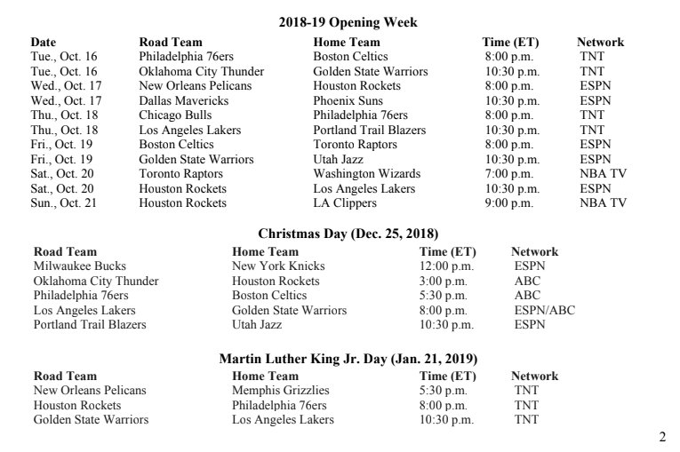 c556e2f23  Katz  Full NBA schedule release for the first week and nationally-televised  holiday games ...