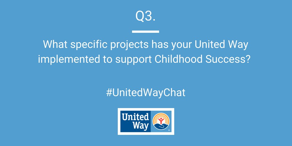 Q3. PROJECTS: What specific projects or programs has your United Way implemented to support Childhood Success (e.g. @dollyslibrary, Born Learning, stuff the bus/backpack drive, reading buddies)? #UnitedWayChat <br>http://pic.twitter.com/rjZ8hyOUhE