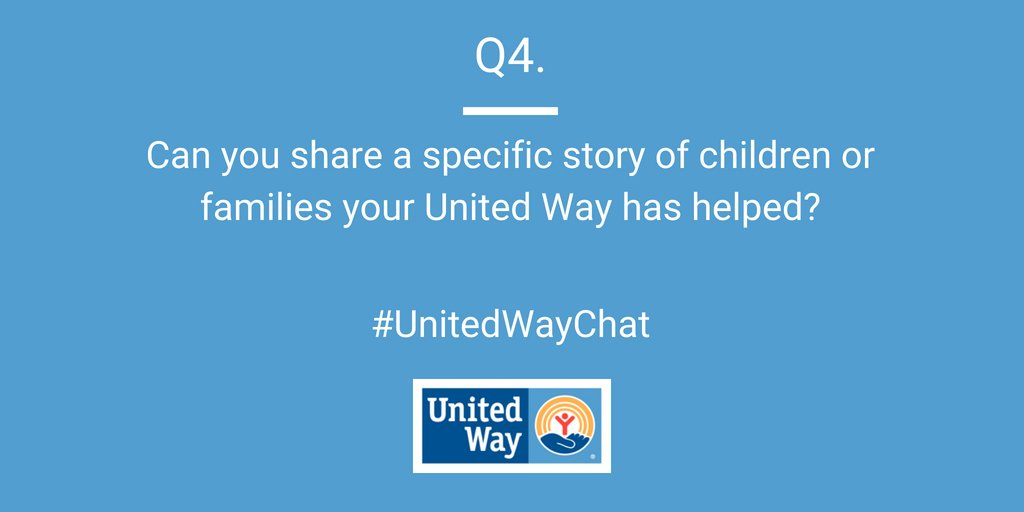 Q4: PEOPLE: Can you share a specific story of children or families your United Way has helped? #UnitedWayChat <br>http://pic.twitter.com/aVMImwiurg