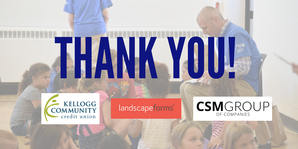 A8: We've had tremendous support from partners in strengthening early childhood education and inspiring a love of literacy. To name just a few, big thanks to @landscapeforms,  @CSMCompanies and Kellogg Community Credit Union! #UnitedWayChat <br>http://pic.twitter.com/0Rwn2rT7mm