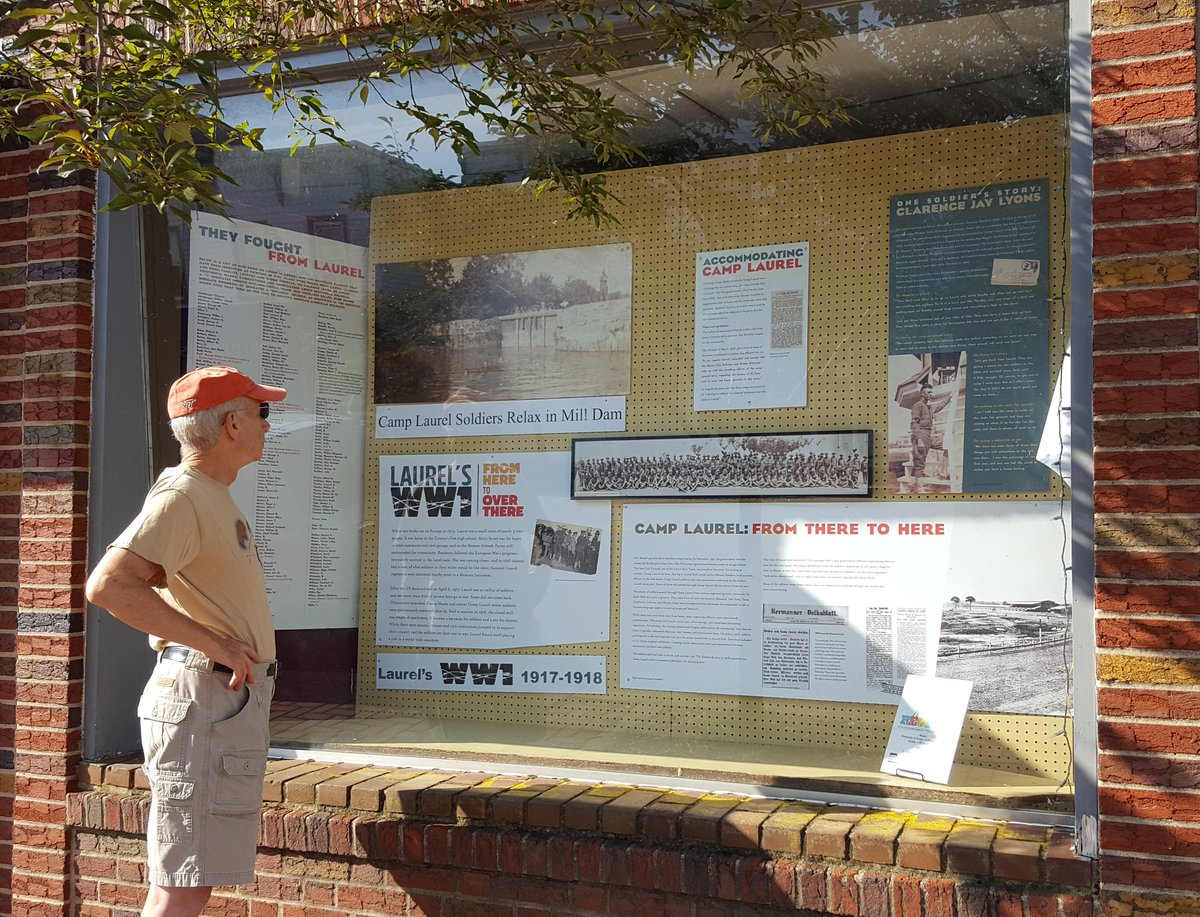 """Camp Laurel has come to Main Street. A new """"unit"""" of &quot;Laurel's WW1 From Here to Over There"""" has been """"redeployed"""" and is getting a second life in the window of 342 Main Street. #WW1 #laurel ,   Read more:  http:// bit.ly/CampLaurelMnSt  &nbsp;  <br>http://pic.twitter.com/Vzwx80FUIJ"""