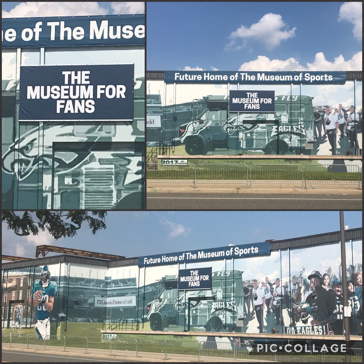 New banner raised at the future home of The @PhiladelphiaGov Museum of Sports!  (@MoSPhilly)  The future Home of the Philly Sports fan right in the heart of the South Phila Sports Complex!  #BeBold #FlyEaglesFly #Philly #Flyers #Sixers