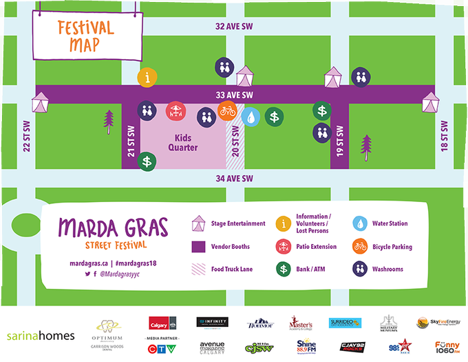 Heading to the @mardagrasyyc tomorrow? Use this handy map to find your way around the festival! 🎭   #mardagras18   10am - 5pm Photo