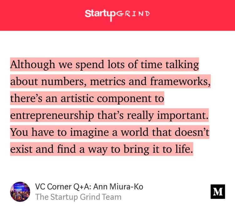 'VC Corner with Ann Miura-Ko'-@StartupGrind @annimaniac #vccorner medium.com/startup-grind/…