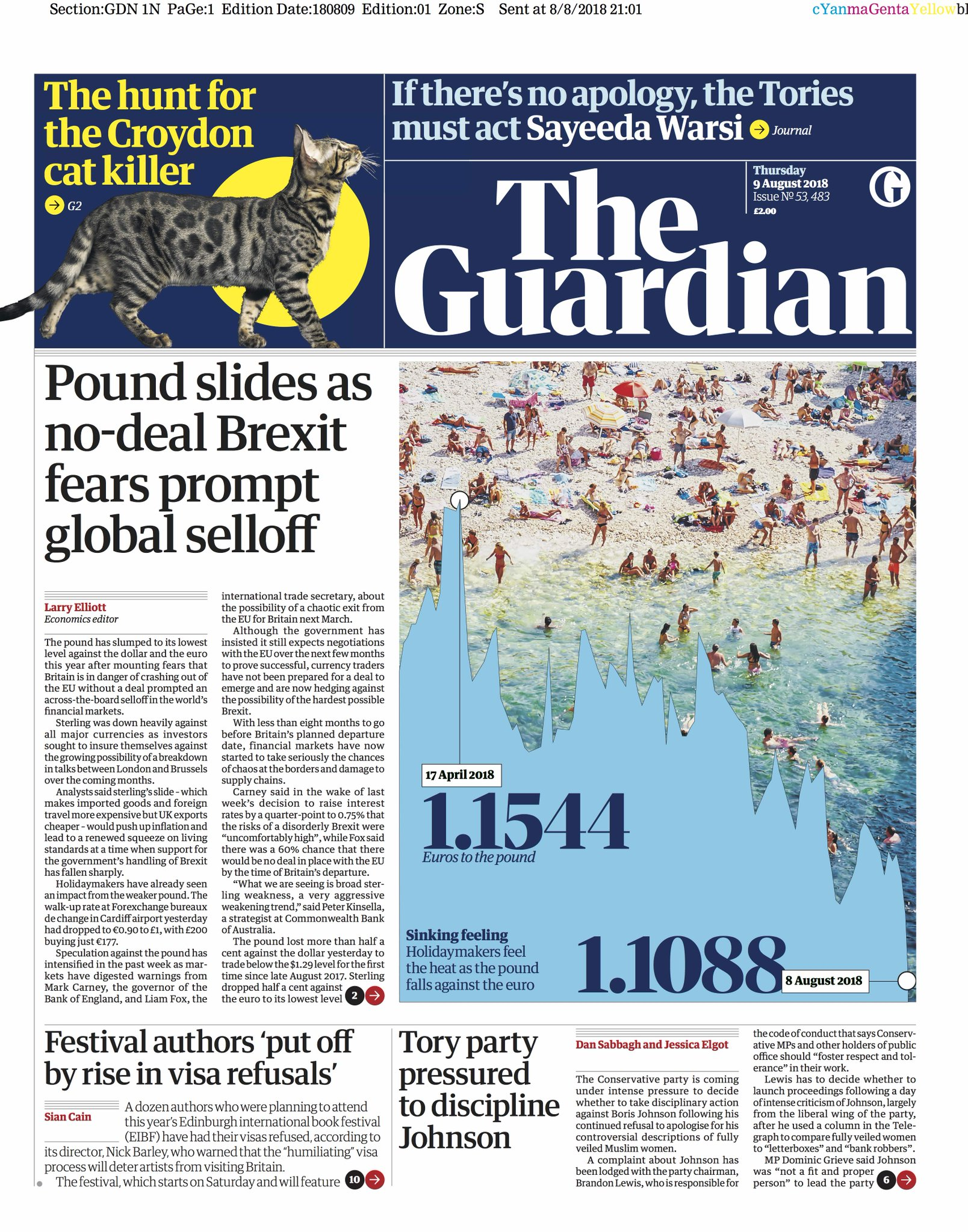 Guardian front page, Thursday 9 August 2018: Pound slides as no-deal Brexit fears prompt global selloff https://t.co/YX9K1oSGZK