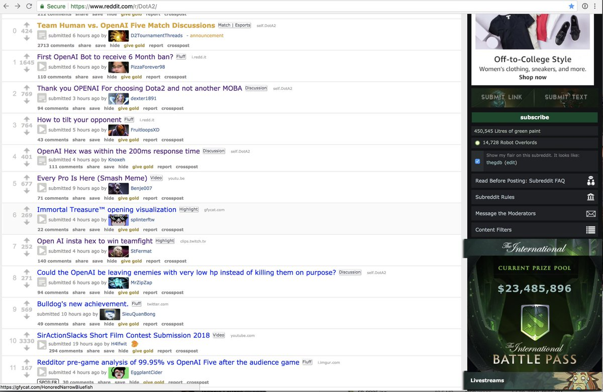 Has been really cool to see how excited &amp; welcoming the Dota community has been about our project — on Sunday, /r/Dota2 front page was mostly OpenAI threads. Really motivating for the entire team. See you at TI ;)!<br>http://pic.twitter.com/MZZp8909w3