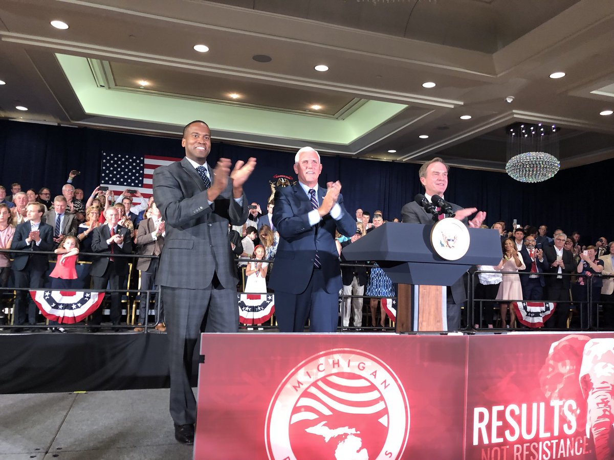 The next Senator and Governor of the great state of Michigan! The hard working men & women of Michigan sent @RealDonaldTrump to the White House in 2016. Now we need to elect @JohnJamesMI and @SchuetteOnDuty this November! Great to stand with them tonight.
