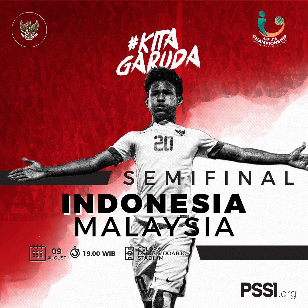 #TODAYMATCH Semifinal #AFFU16 Kamis 9 Agustus 2018 Indonesia 🇮🇩 vs 🇲🇾 Malaysia K.O 19.00 WIB [INDOSIAR LIVE]